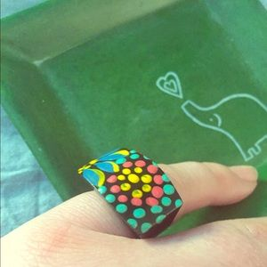 Jewelry - Wood Statement Ring Hand Painted Bright Colors